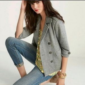 CAbi gray jacket Moto style with sailor buttons XL
